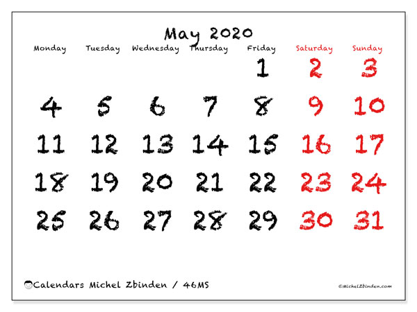 Printable calendar, May 2020, 46MS