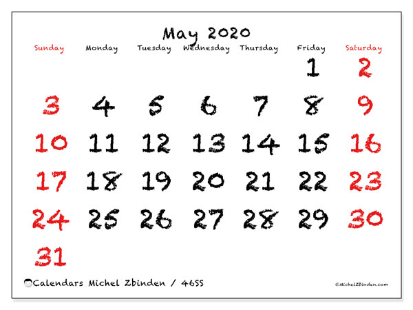 Calendar May 2020 - 46SS. With chalk. Monthly Calendar and free printable agenda.