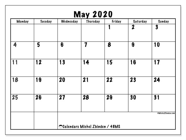 Printable calendar, May 2020, 48MS