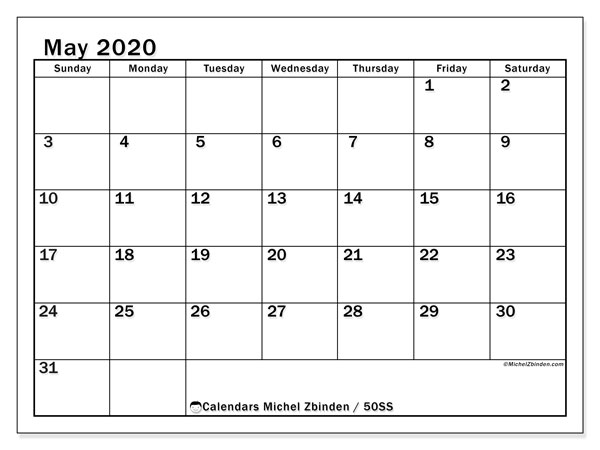 May 2020 Calendar, 50SS. Free printable planner.