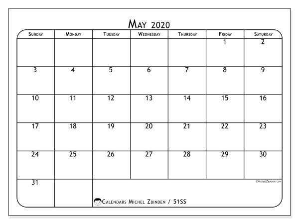 Calendar May 2020 - 51SS. Popular. Monthly Calendar and free timetable to print.