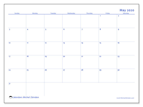 May 2020 Calendar, 55SS. Free printable monthly planner.