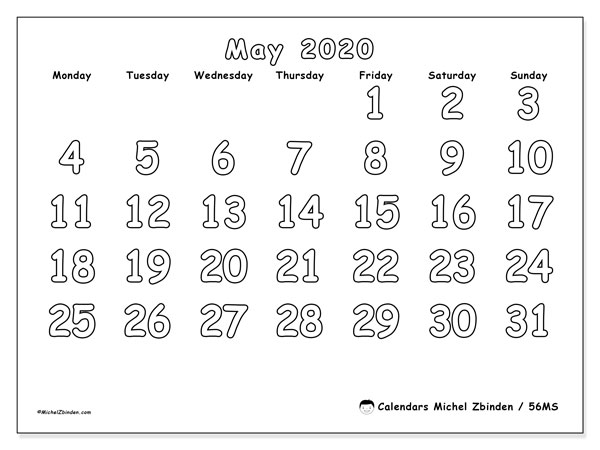 May 2020 Calendar, 56MS. Bullet journal to print free.