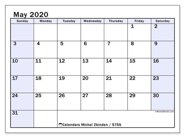 May 2020 Calendar, 57SS. Free printable calendar.