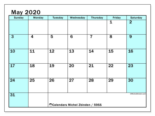 May 2020 Calendar, 59SS. Monthly planner to print free.