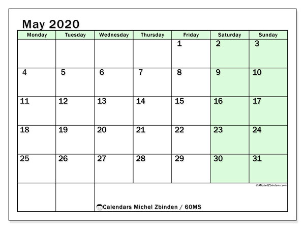 May 2020 Calendar, 60MS. Free printable monthly calendar.