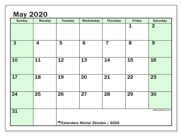 May 2020 Calendar, 60SS. Calendar for the month to print free.