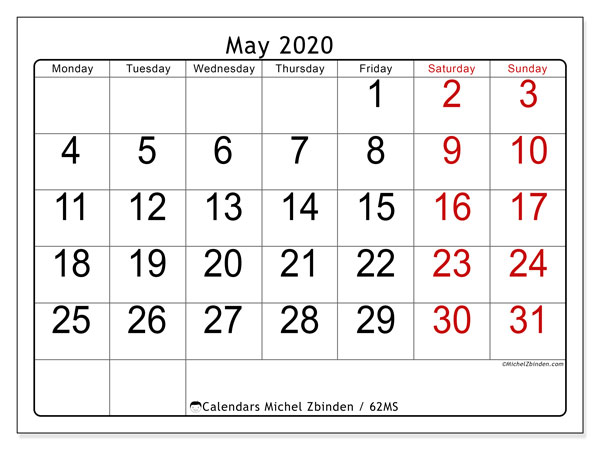 May 2020 Calendar, 62MS. Free printable bullet journal.