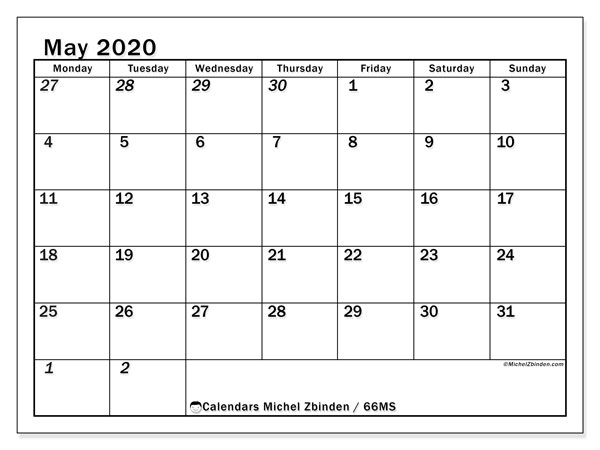 Printable calendar, May 2020, 66MS