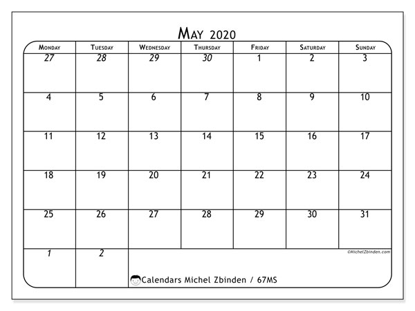 Printable calendar, May 2020, 67MS