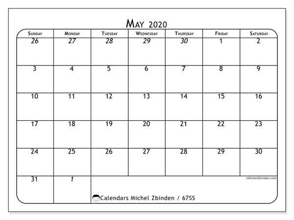 May 2020 Calendar, 67SS. Free printable monthly calendar.