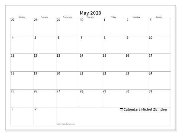 May 2020 Calendar, 70MS. Monthly calendar to print free.