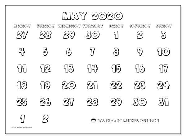Calendar  May 2020, 71MS