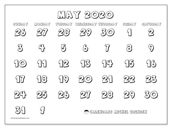 Calendar  May 2020, 71SS