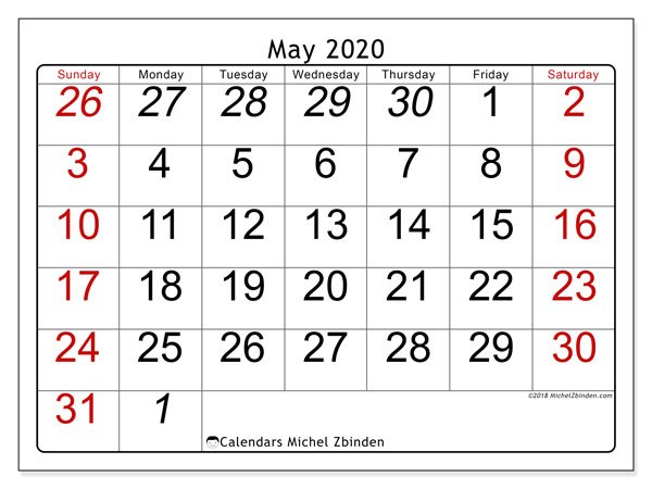 Calendar  May 2020, 72SS