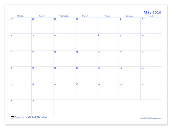 May 2020 Calendar, 73MS. Bullet journal to print free.