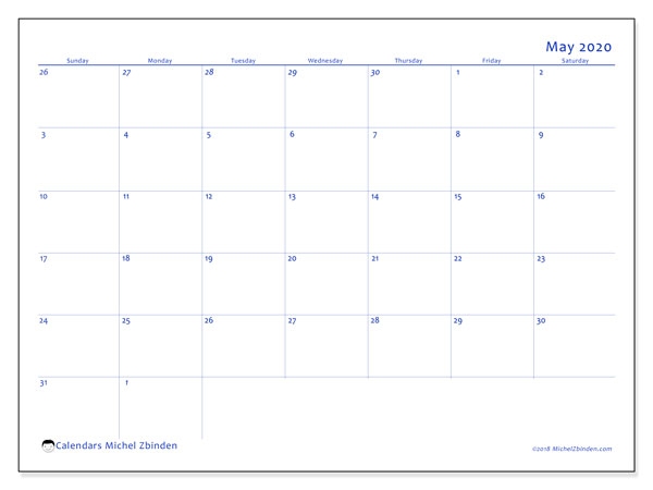 May 2020 Calendar, 73SS. Free planner to print.