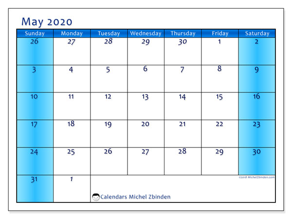 Calendar  May 2020, 75SS