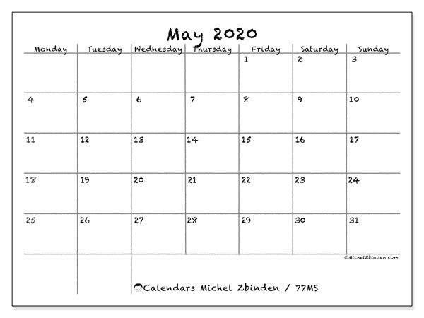 May 2020 Calendar (77MS) - Michel Zbinden EN