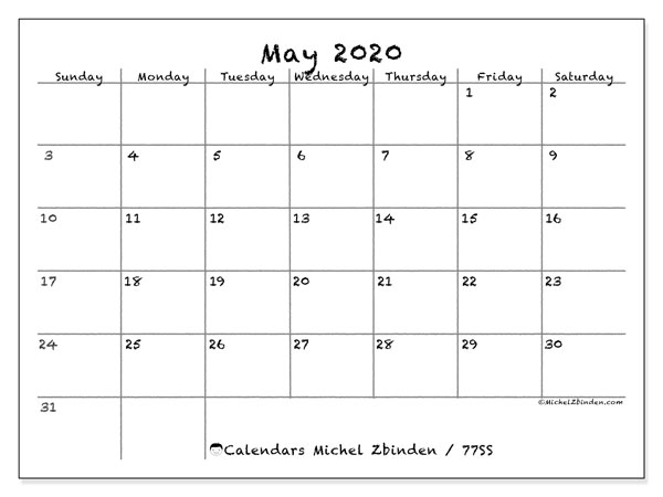 May 2020 Calendar, 77SS. Planner to print free.