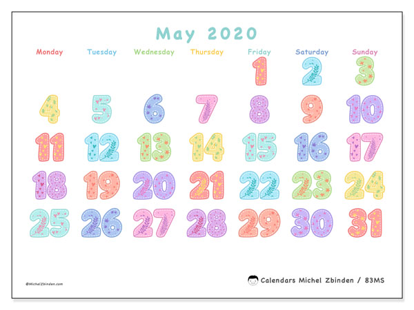 Printable calendar, May 2020, 83MS