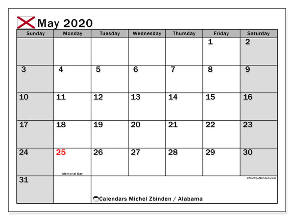 Calendar May 2020 - Alabama. Public Holidays. Monthly Calendar and free schedule to print.