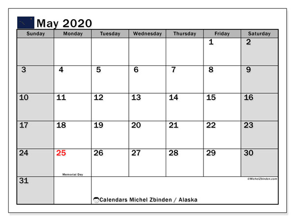 May 2020 Calendar, with the holidays of Alaska. Free printable calendar with public holidays.