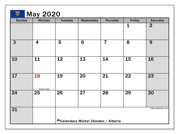 May 2020 Calendar, with the holidays of Alberta. Holidays calendar to print free.