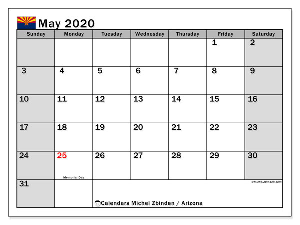 Calendar May 2020 - Arizona. Public Holidays. Monthly Calendar and free planner to print.