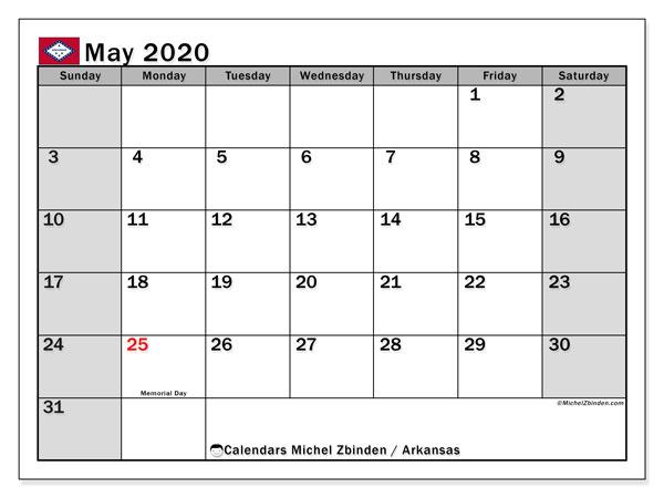 May 2020 Calendar, with the holidays of Arkansas. Free printable calendar with public holidays.