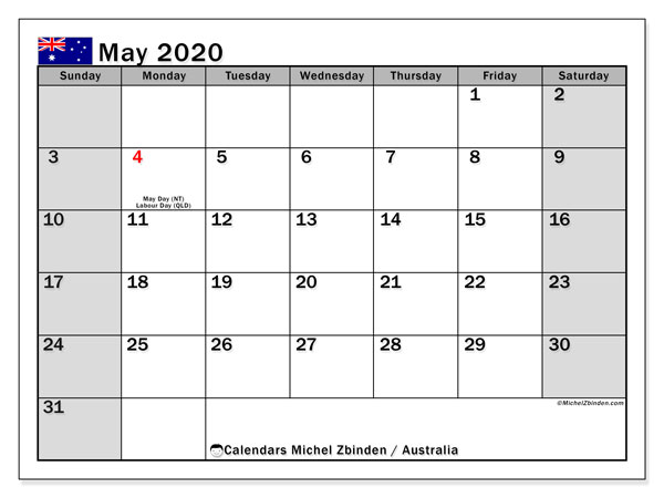 May 2020 Calendar, with the holidays of Australia. Holidays calendar to print free.