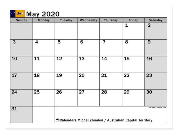 May 2020 Calendar, with the holidays of Australian Capital Territory. Free printable calendar with public holidays.