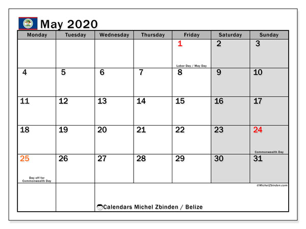 Calendar May 2020 - Belize. Public Holidays. Monthly Calendar and bullet journal to print free.