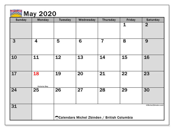 Calendar May 2020 - British Columbia. Public Holidays. Monthly Calendar and free agenda to print.