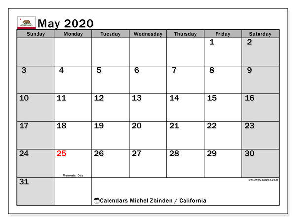 May 2020 Calendar, with the holidays of California. Free printable calendar with public holidays.