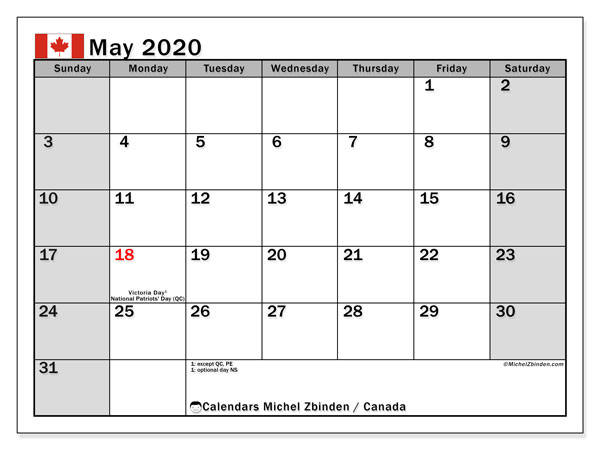 May 2020 Calendar, with the holidays of Canada. Free printable calendar with public holidays.