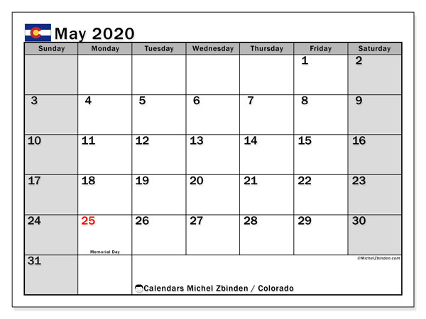 May 2020 Calendar, with the holidays of Colorado. Free printable calendar with public holidays.