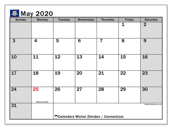 May 2020 Calendar, with the holidays of Connecticut. Free printable calendar with public holidays.