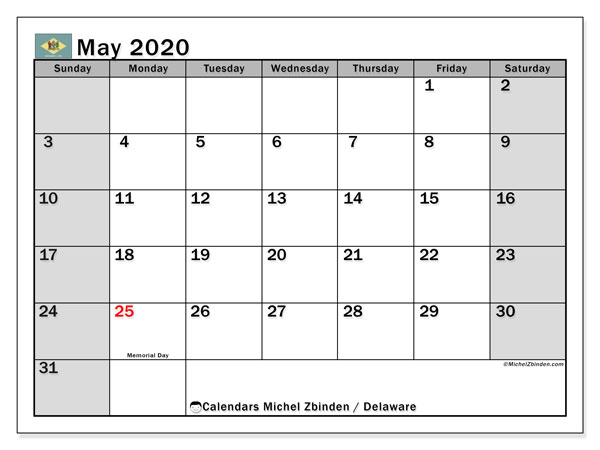 May 2020 Calendar, with the holidays of Delaware. Holidays calendar to print free.