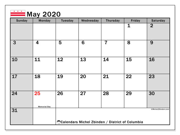 May 2020 Calendar, with the District of Columbia holidays. Free printable calendar with public holidays.