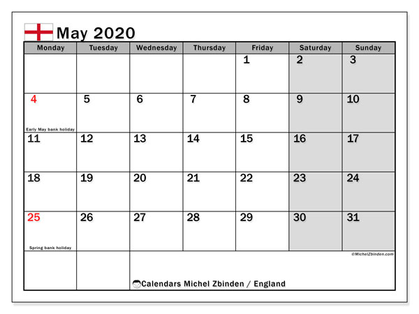 May 2020 Calendar, with the holidays of England. Free printable calendar with public holidays.