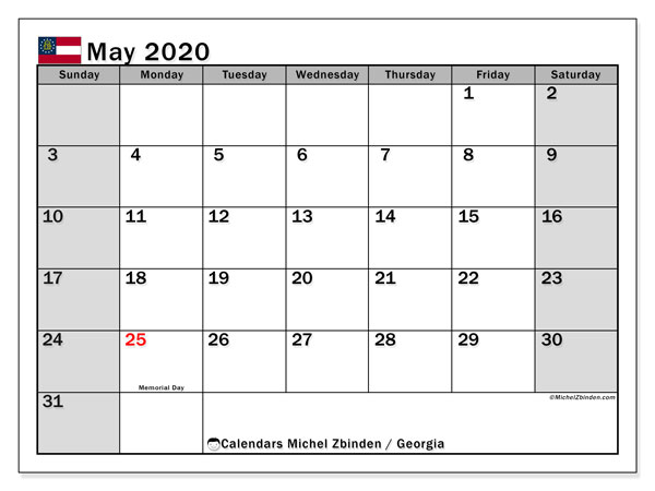 May 2020 Calendar, with the holidays of Georgia. Holidays calendar to print free.