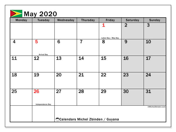 May 2020 Calendar, with the holidays of Guyana. Holidays calendar to print free.