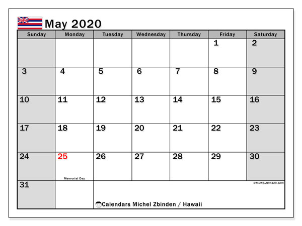 May 2020 Calendar, with the Hawaii holidays. Holidays calendar to print free.