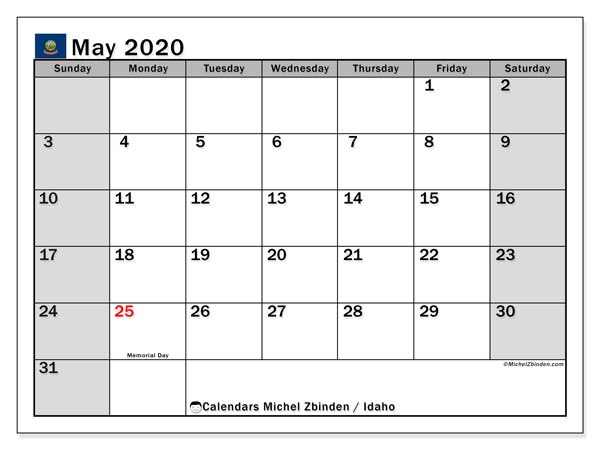 "Printable ""Idaho"" calendar with public holidays. Monthly May 2020 calendar and free printable planner."