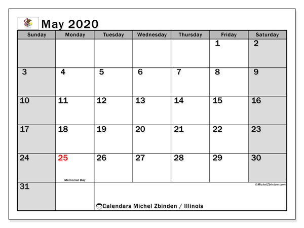 May 2020 Calendar, with the holidays of Illinois. Free printable calendar with public holidays.