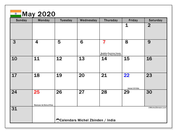 May 2020 Calendar, with the holidays of India. Free printable calendar with public holidays.
