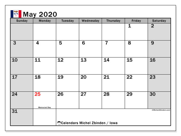 May 2020 Calendar, with the holidays of Iowa. Holidays calendar to print free.