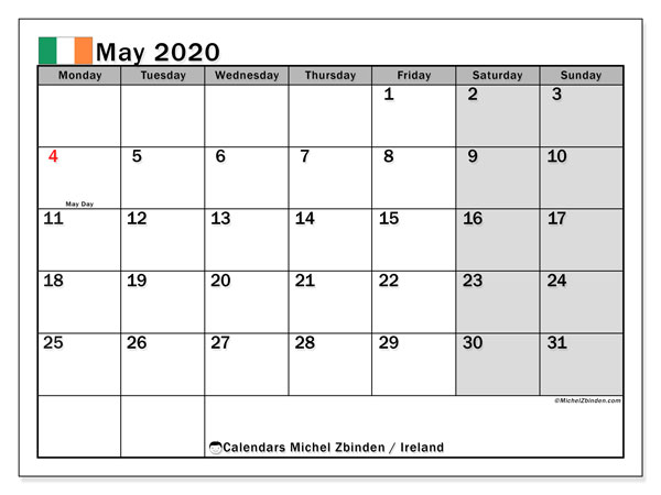 May 2020 Calendar, with the holidays of Ireland. Free printable calendar with public holidays.