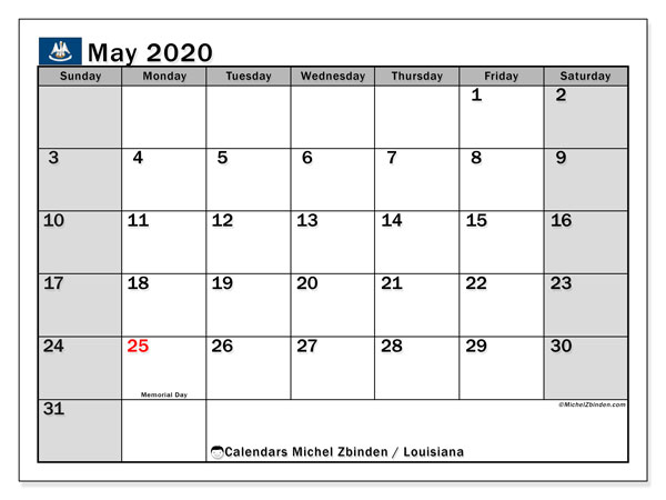 May 2020 Calendar, with the holidays of Louisiana. Free printable calendar with public holidays.